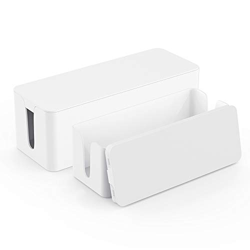 Cable Organizer Box - Cord Organizer Box - Power Strip Cable Management Box - Cord Hider Box for Hiding Surge Protector Cover - Set of 2, White