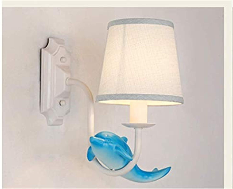 Dekorationinnenbeleuchtungbeleuchtungspotleuchtenleuchtensystemeamerican Garden Wall Lamp Bedroom Bedside Study Living Room Iron Room Simple European Mediterranean Dolphin Wall Lamp
