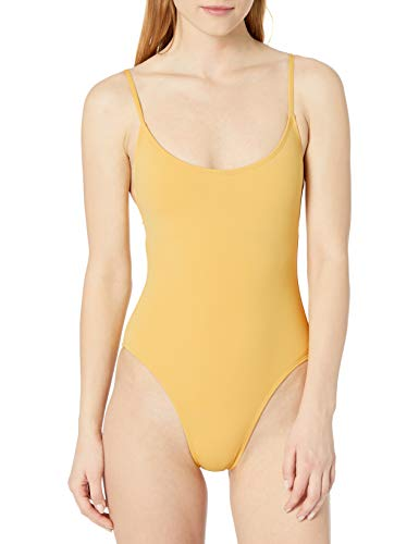 Anne Cole Studio Women's Standard Vintage Lingerie Maillot One Piece Basic Swimsuit, Gold, 14