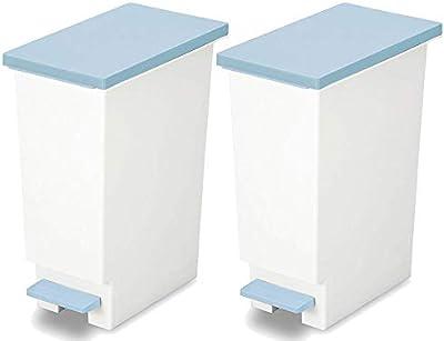 トンボ ゴミ箱 2個セット 20L 日本製 フタ付き ペダル式 分別 スリム ブルー ネオカラー 新輝合成