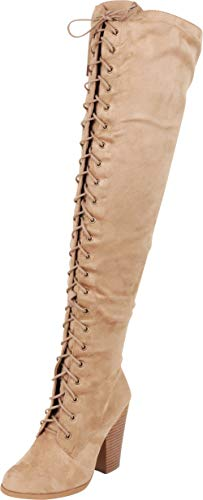 Cambridge Select Women's Thigh-High Lace-up Chunky Stacked High Heel Over The Knee Boot,6 M US,Black IMSU
