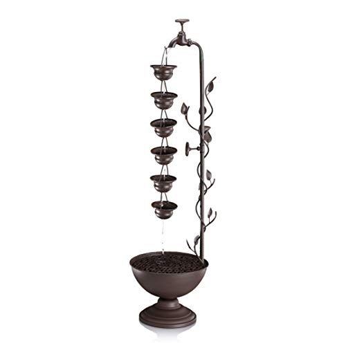 Alpine Corporation Hanging 6-Cup Tiered Floor Fountain - Bronze Indoor/Outdoor Water Fountain for Garden, Entryway, Patio, Yard
