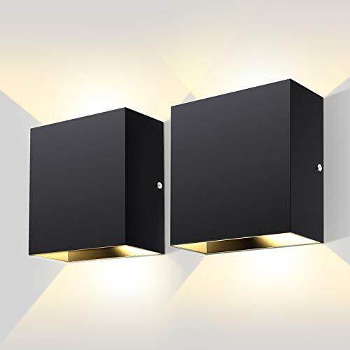 Lovebay 2pack LED Wandleuchte Innen Modern Wandlampe Wandbeleuchtung innen für Wohnzimmer, Schlafzimmer, Badezimmer, Flur, Balkon, Treppen, 10W Schwarz, Warmweiß
