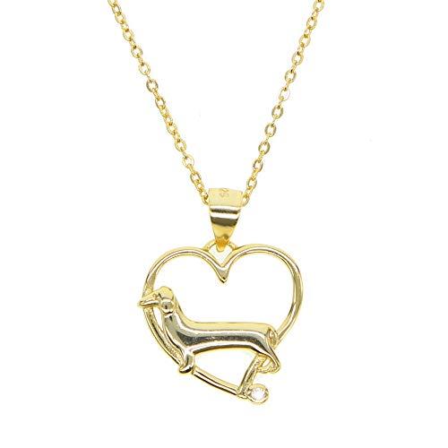 Plata de ley 925 color plata oro colgante en forma de corazón lindo perro delicado animal lindo amante de los perros collar de plata 925 mínimo