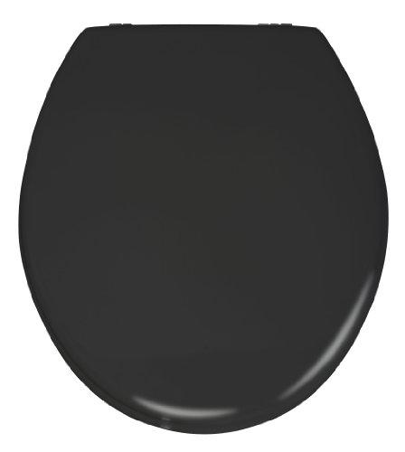 WENKO WC-Sitz Prima Schwarz Matt, Retro-Stil Toilettensitz, WC-Deckel inkl. Wandpuffer & rostfreier Edelstahlbefestigung, Spülkastengeeignet, Toilettenbrille aus MDF, 37 x 41 cm