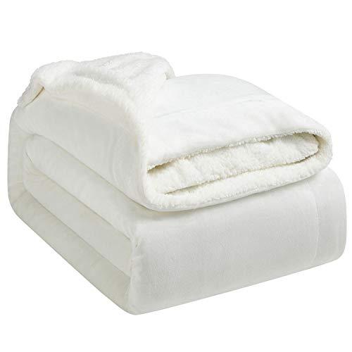 Hansleep Manta Reversible de Franela y Sherpa 130x165 cm, Manta Polar para Cama 80 de Microfibra - Manta Pelo para Sofá Suave Hipoalérgica, Manta Forro Polar de Invierno Blanco
