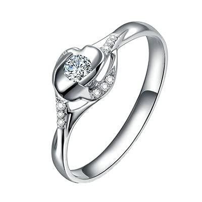 Bishilin Alianzas Oro Blanco 750, 0.1ct Diamante Anillo de Compromiso de Aniversario de Boda Ajuste Cómodo Regalos para Cumpleaños Navidad Joyería de Las Mujeres Oro Blancotamaño: 17