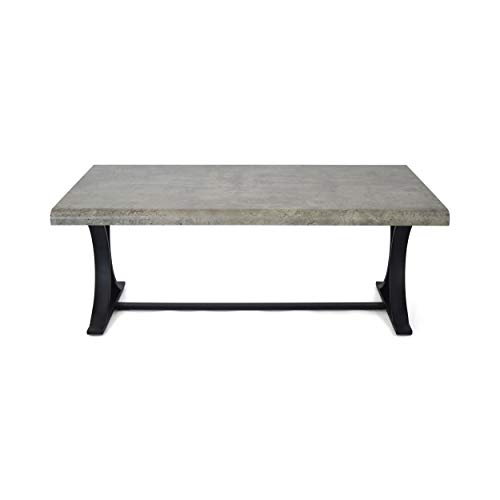 Clark Modern Industrial Coffee Table with Iron Legs, Light Concrete and Matte Black
