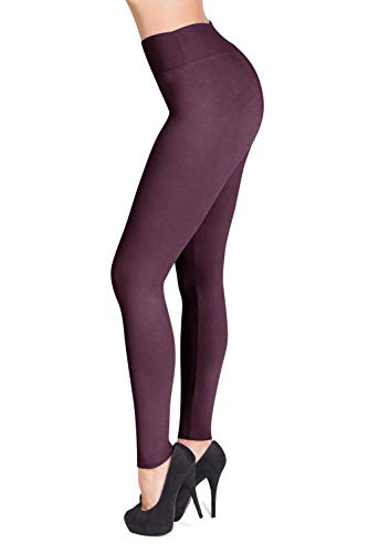 SATINA #1 High Waisted Buttery Soft Leggings | Regular and Plus Size | 22 Colors (One Size, Violet)