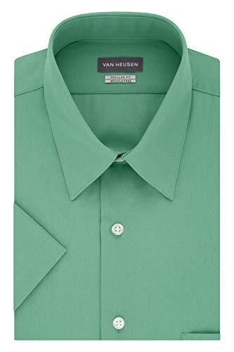 """Van Heusen Men's Dress Shirts Short Sleeve Poplin Solid, Leaf, 16.5"""" Neck (Large)"""