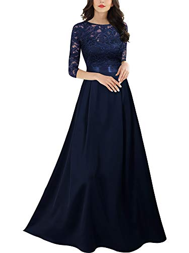 MIUSOL Damen 3/4 Ärmel Rundhals glatter Stoff Abendkleid Langes Kleid Navy Blau S