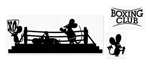 spb87 Maus Boxen Fight MMA Motivation Fitness Gym Workout Minie Loch Home Live Kids Funny Art Wand Aufkleber Aufkleber Baseboard Kinder Mäuse Sockelleiste