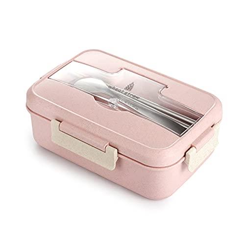 Lunchbox voor volwassenen en kinderen, 3 vakken, lekvrij, bento-box met lepel en vork voor werkschool, voedselcontainers…