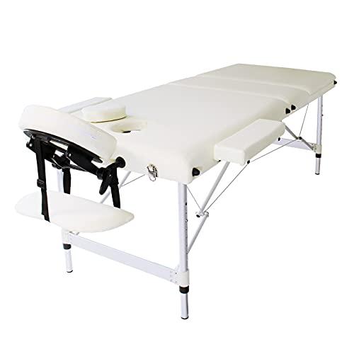 WilTec Camilla Masaje Blanco Aluminio reposacabezas multifunción y apoyabrazos, Plegable, Altura Regulable
