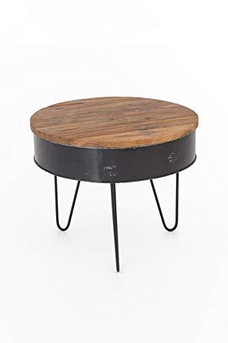 INDEX LIVING Teak salontafel 60 cm teakhouten tafel woonkamertafel unicaat rond ijzer bruin
