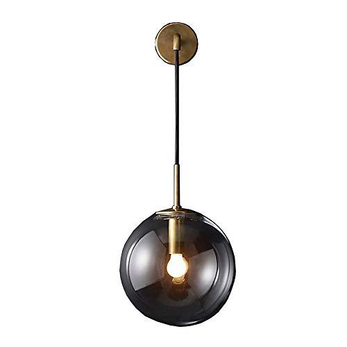 RUIXINBC Led-wandlampen, binnen en buiten, instelbare kabellengte van transparante glazen lampenkap, moderne wandlamp, inbouw wandlampen, nachtverlichting, geschikt voor slaapkamer en hal