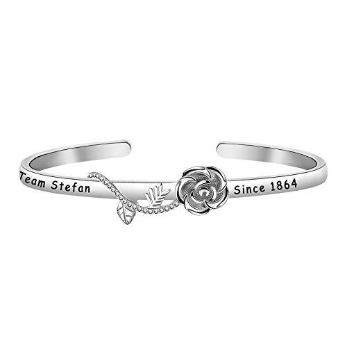 HOLLP Vampire Diaries Inspired Jewelry Vampire Girl Rose Bracelet Team Stefa Since 1864 Bracelet Gift for Vampire Diaries TV Fans (Bracelet-S)