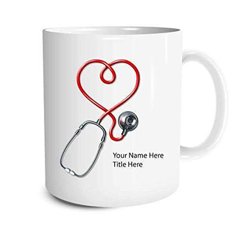 Personalized Stethoscope Coffee Mug - Personalize it with a custom Name, Great for Birthdays, Holidays, Office Gift, Stocking Stuffers, Gag Gift for Doctors, Nurses, Pharmacists