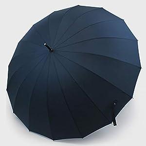 Komori 長傘 メンズ 紳士傘 超大120cm 耐風傘 丈夫 大型 16本骨 210T高強度グラスファイバー 木製手元 き耐風 軽量 丈夫 撥水 豪雨対策 台風・梅雨対策 自動開け 収納ケース付