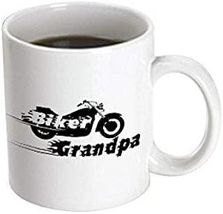 3dRose Mug Biker Grandpa. motorbike motorcycle granddad. Fast bike. cool black and white flaming text. Grandad (mug_162588_3) - 11oz - Transforming, Black/White
