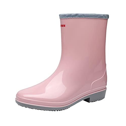 HEling Botas de lluvia para mujer, verano, resistentes al desgaste, impermeables, antideslizantes, para exterior, de PVC, cómodas, para verano, Rosa., 36 EU