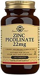 Solgar Zinc Picolinate 22 Mg Tablets, Pack of 100