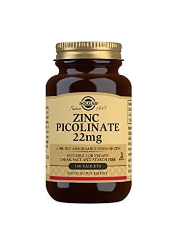 Solgar Zinc Picolinate 22 Mg Tablets, Pack of 100