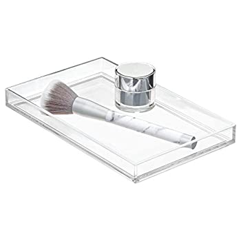 iDesign Clarity Metal Tumbler Makeup Toothbrush Holder for Bathroom Countertop Desk Dorm College and Vanity Clear and Brushed Towel Tray