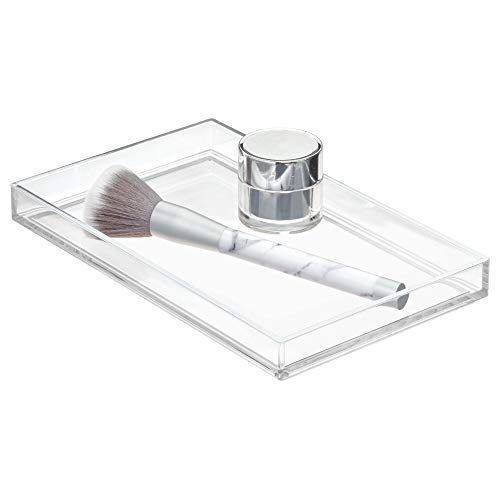 Price comparison product image iDesign Storage Accessories,  Jewellery or Hair Clips,  Rectangular Plastic Tray for Soap Dispenser and More,  Sink Tidy for Bathroom Hand Towels,  Clear,  22.1 cm x 13.6 cm x 2.4 cm