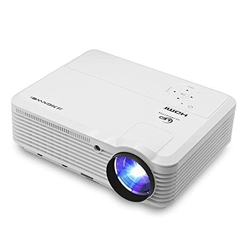 PROYECTOR WiFi 4800 Lumen Soporte Zoom Airplay Full HD 1080P, proyector de Android Inteligente con USB HDMI para Entretenimiento en casa al Aire Libre