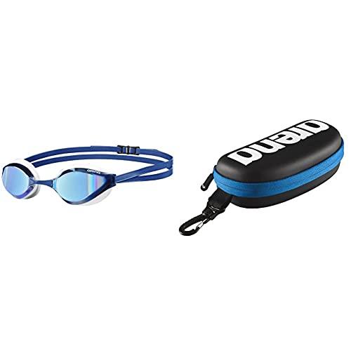 ARENA Python Gafas de Natación, Unisex Adulto, Azul (Blue Mirror), Talla Única + 000001E048-507 Estuche Para Gafas De Natación, Unisex Adulto, Negro/Blanco, Universal