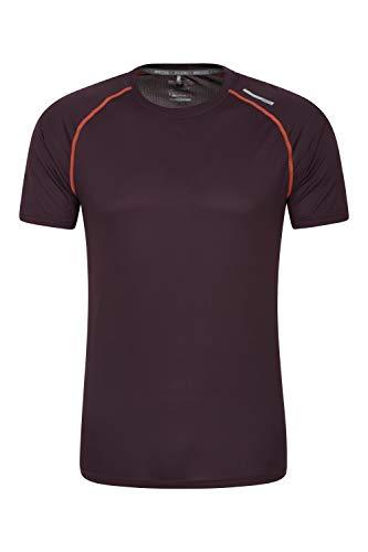 Mountain Warehouse Aero II Camiseta de Manga Corta para Hombre - Camiseta de Alta Visibilidad, Ligera, Transpirable - para Gimnasio, Deporte, Exterior Morado Oscuro XXL