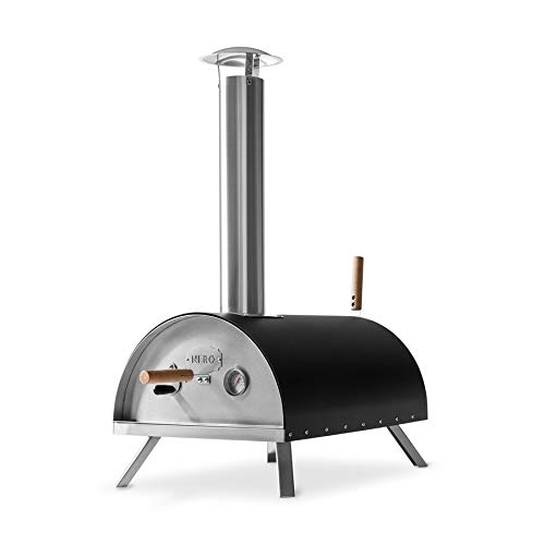 BURNHARD Nero Stainless Steel Outdoor Pizza Oven incl. Pizza Slicer & Pizza Stone, Pizza Oven, Premium Wood-Fired Oven for the Garden, can be used with Pellets, Charcoal & Briquettes