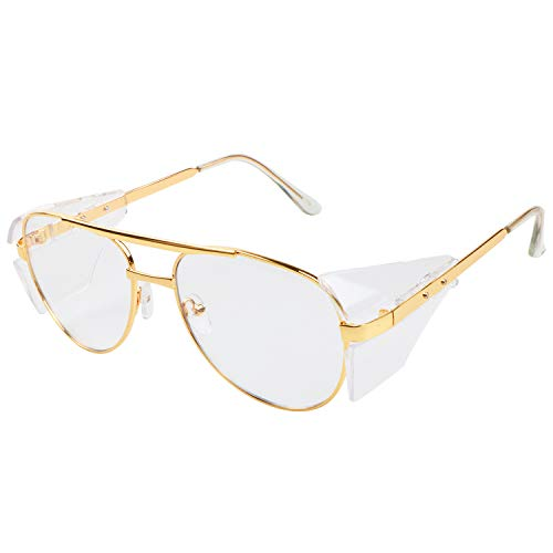 BHTOP Safety Glasses In Golden Frames 2933 Protective Eye Wear With Steel Frames Clear Lens Anti-Fog Lightweight Glasses for Women, Men, Outdoor, Indoor