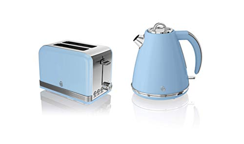 Swan, STP7040BLN, Retro 1.5L Jug Kettle & 2 Slice Toaster, Stainless Steel Body, 3kw, Slide Out Crumb Tray, Auto-Centering, (Blue)
