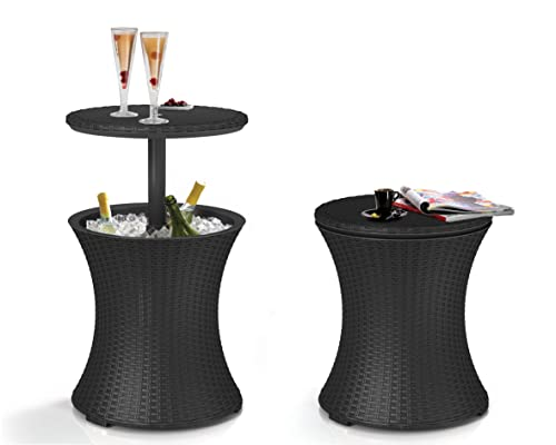 Keter Pacific Cool Bar Outdoor Patio Furniture and Hot Tub Side Table with 7.5 Gallon Beer and Wine...