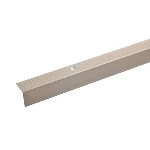 acerto 35408 Aluminium Treppenwinkel-Profil - 100cm, 20x20mm * Rutschhemmend * Robust * Leichte Montage   Treppenkanten-Profil, Treppenstufen-Profil aus Alu * Treppenkantenschutz (bronze hell)
