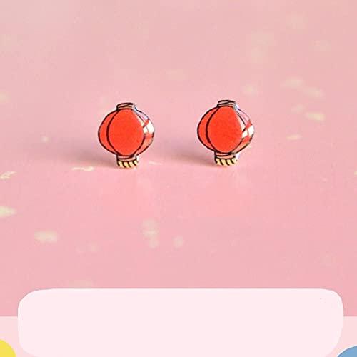 sis-woner Rote Laterne im chinesischen Stil Ohrringe s925 Silber ohne durchbohrte Magnetohrringe mit Neujahrs- und Frühlingsfestdekorationsohrringen-W_C