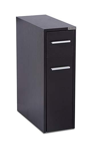 ts-ideen Apothekerschrank Küchenschrank Badregal Standregal Küchenregal Schwarz ausziehbar mit Rollwagen 61 x 20 cm
