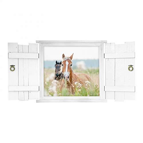 nikima Schönes für Kinder 132 Wandtattoo Pferd im Fenster mit Fensterläden weiß - schöne Wanddeko für Kinderzimmer Sticker Aufkleber Wandbild Landhaus - Größe 1000 x 500 mm
