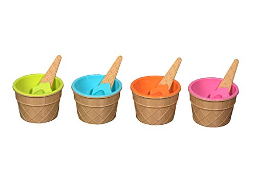 Hammont Ice Cream Bowls and Spoons - Reusable Dessert Bowls and Spoons Set, Durable Plastic Bowls for Party Favor   4 Bowls and 4 Matching Spoons (Orange, Pink, Light Green, Sky Blue)