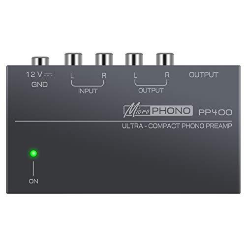 Préamplificateur Phono LiNKFOR Préampli Ultra-Compact PP400 en Métal, Entrée RCA , Sortie RCA et 1 4  TRS Préampli Phono