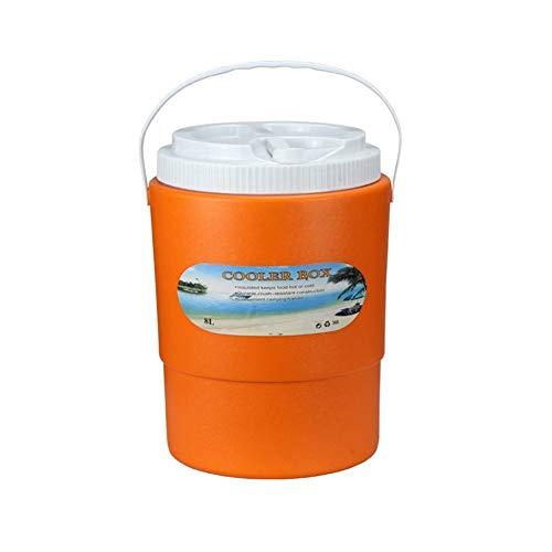 X&HUI Glacière extérieure en plastique isolante portable pour pique-nique, pêche, transport de nourriture, grand camping, voiture, étanche, isotherme et léger, 8 L, forme cylindrique, orange