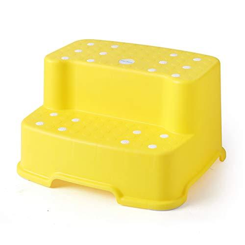 RONG HOME Nuevo Taburete plastico ninos Juguete Taburete de Doble Capa banos pie Paso Taburete bano Ducha Antideslizante Banco,Yellow