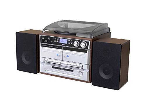 soundmaster MCD5550 Bluetooth HiFi System with FM/DAB Radio, Twin Cassette, Tape to Tape Recording, CD Player & Record Player Turntable (BLUETOOTH/DAB/FM/CD/TAPE REC/TURNTABLE - BROWN)