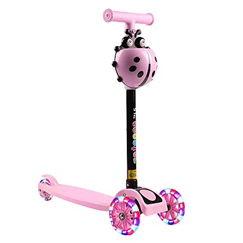 EASONGEE Patinete para Niños, Scooter 3 Ruedas LED Parpadeantes Patinete Ajustable, Carga Máxima de 180 Kg - Niños 2 A 8 Años (Rosa)