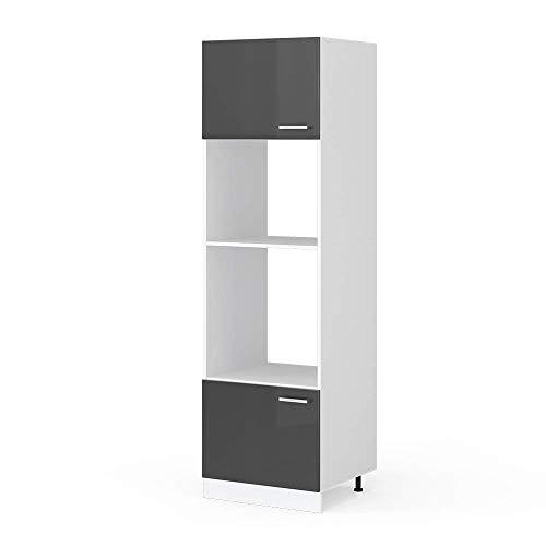 Vicco Küchenschrank Hängeschrank Unterschrank Küchenschränke Küchenunterschrank Arbeitsplatte, Möbel verfügbar in anthrazit und weiß (anthrazit ohne Arbeitsplatte, Mikrowellenumbauschrank 60 cm)