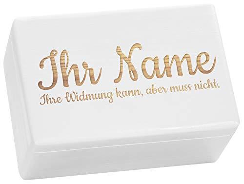 LAUBLUST Große Holzkiste - Personalisiert mit Individueller Wunsch-Gravur - 30x20x14cm, Weiß, FSC® - Geschenk-Kiste | Aufbewahrungskiste | Erinnerungs-Box