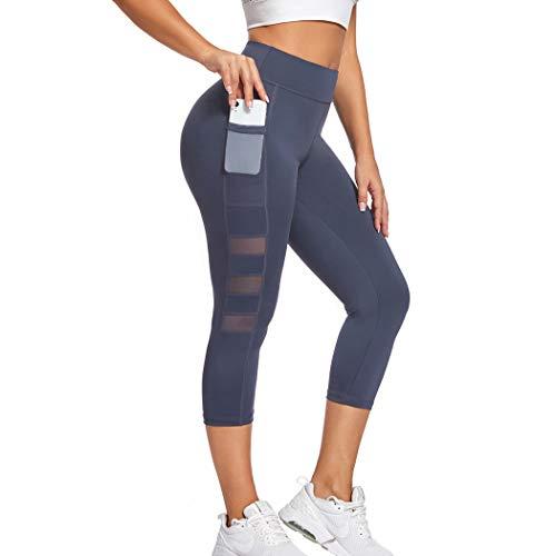 Joyshaper Leggings Damen 3/4 Länge Schwarz Mesh Sporthose Fitnesshose Lang Figurformende Hose Shaping Tights Capri Hohe Taille für Yoga Fitness Mit Seitentaschen (Dunkelblau, X-Large)