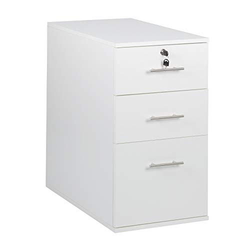 MMT Furniture Designs Ltd MMT-IV09 White Schreibtisch mit 3 Schubladen, Holzlaminat, weiß, 40 cm(w) x 60 cm(d) x 73 cm(h)